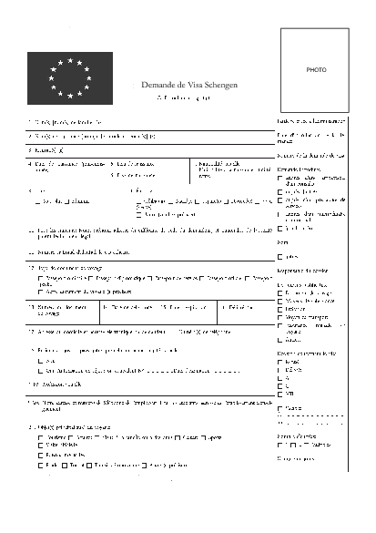 Aperçu Formulaire Cerfa No 14076-01 : Demande de visa Schengen (visa de court séjour)