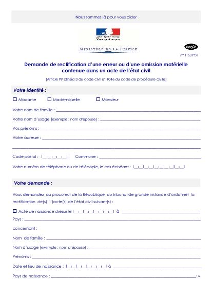 Aperçu Formulaire Cerfa No 11531-01 : Demande rectification d'une erreur ou d'une omission matérielle dans un acte de l'état civil