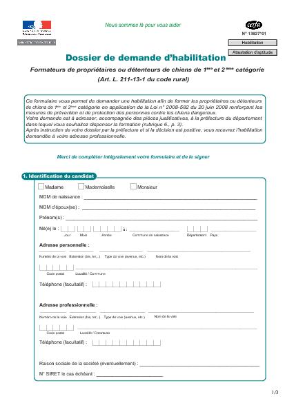 Aperçu Formulaire Cerfa No 13927-01 : Dossier de demande d'habilitation - Formateur de propriétaire et détenteur de chien - Attestation d'aptitude