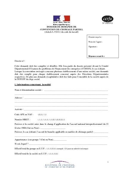 Dossier De Demande De Convention De Chomage Partiel Formulaire Cerfa Documentissime