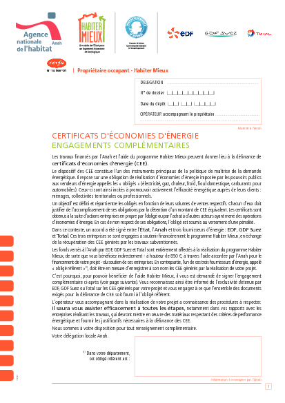 """Aperçu Formulaire Cerfa No 14566-03 : Engagement du propriétaire-occupant """"Habiter mieux"""""""