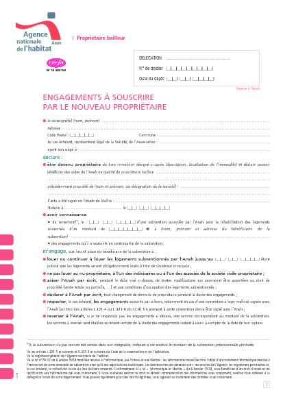 Aperçu Formulaire Cerfa No 13464-03 : Engagements à souscrire par le nouveau propriétaire - Propriétaire bailleur