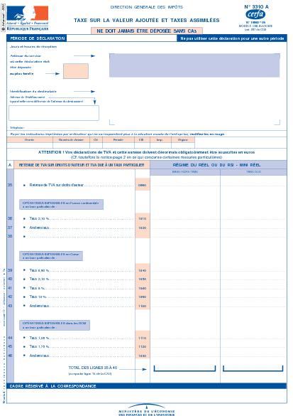 formulaire tva 3310-k-ca3