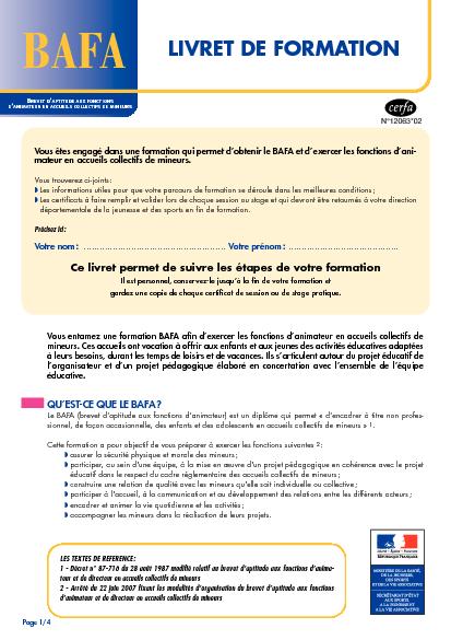 Aperçu Formulaire Cerfa No 12063-02 : Livret de formation BAFA
