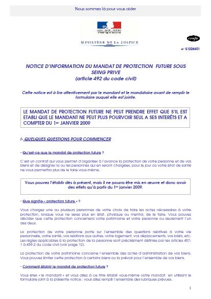 Aperçu Formulaire Cerfa No 51226-01 : Notice d'information du mandat de protection future sous seing privé