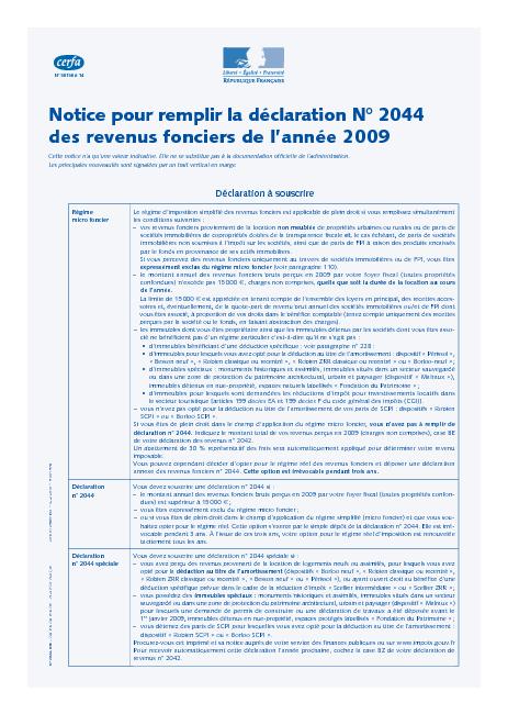 Notice de la d claration des revenus fonciers - Declaration revenus location meuble de tourisme ...