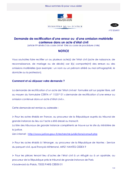 Aperçu Formulaire Cerfa No 51206-01 : Notice demande de rectification d'une erreur ou d'une omission matérielle contenue dans un acte d'état civil