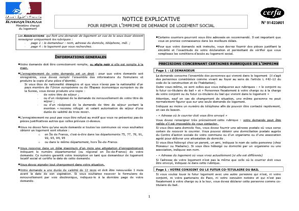 Aperçu Formulaire Cerfa No 51423-01 : Notice explicative du formulaire de demande de logement social