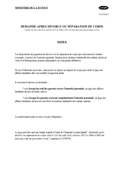 Aperçu Formulaire Cerfa No 50720-01 : Notice relative à la demande ...