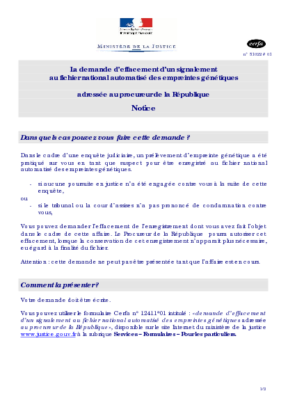 Notice Relative A La Demande D Effacement D Un Signalement Au