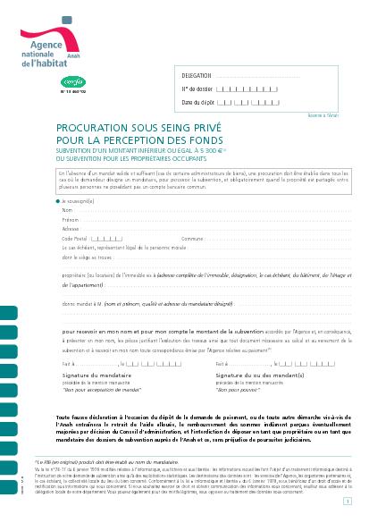 Aperçu Formulaire Cerfa No 13463-02 : Procuration sous seing privé pour la perception d'une subvention de l'Anah