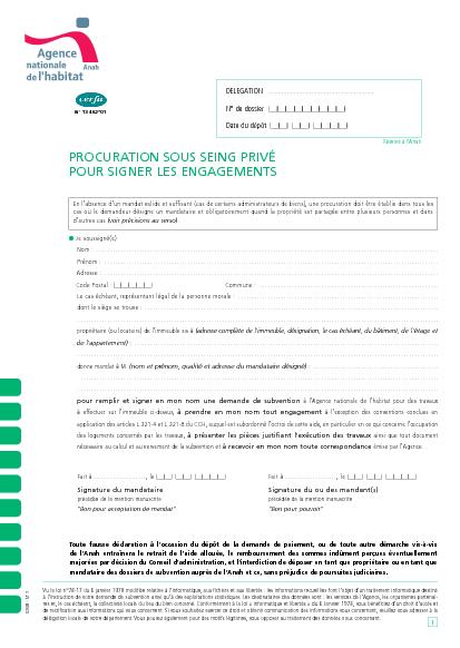 Aperçu Formulaire Cerfa No 13462-01 : Procuration sous seing privé pour signer les engagements relatif à une demande de subvention de l'ANAH pour réaliser des travaux