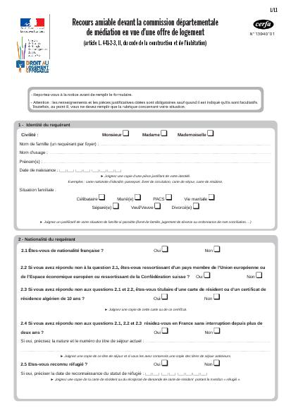 Aperçu Formulaire Cerfa No 13940-01 : Recours amiable devant la commission départementale de médiation en vue d'une offre de logement