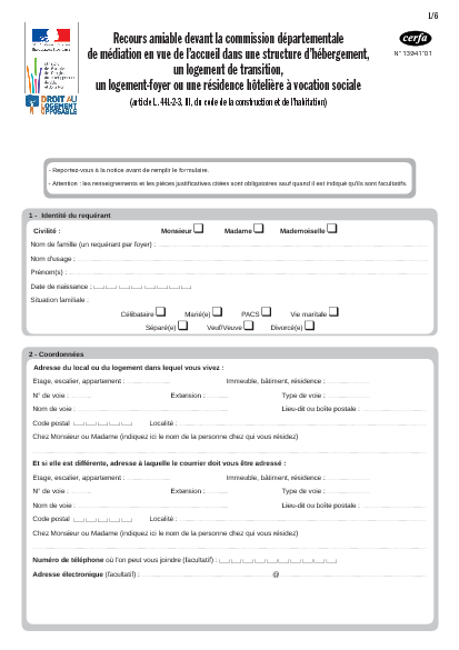 Aperçu Formulaire Cerfa No 13941-01 : Recours amiable devant la commission départementale de médiation en vue de l'accueil dans une structure d'hébergement, un logement de transition, un logement-foyer ou une résidence hôtelière à vocation sociale