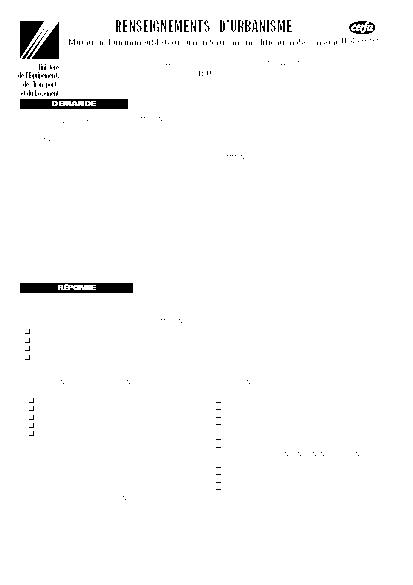 Aperçu Formulaire Cerfa No 46-0392 : Renseignements d'urbanisme (Mutation d'un immeuble bâti ou non bâti sans modification de son état)