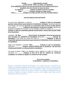 lettre de cessation d emploi exemple Exemple de lettre gratuit de Avis dissolution anticipée une  lettre de cessation d emploi exemple