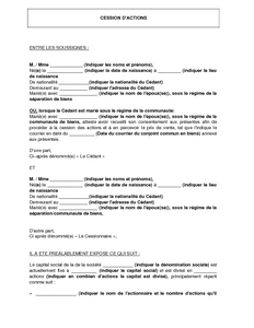 Contrat De Cession D Actions D Une Sas Modele De Lettre Gratuit