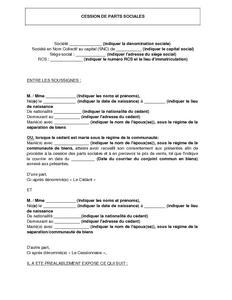 Contrat De Cession De Parts Sociales D Une Snc Modele De Lettre