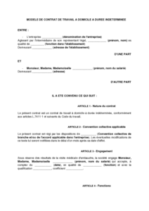 33561126c30 Contrat de travail à domicile à durée indéterminée - modèle de ...