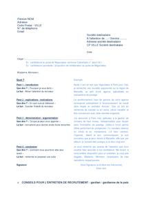 Exemple de lettre gratuit de gardien paix exemple cv lettre motivation typ - Lettre de motivation gardien ...