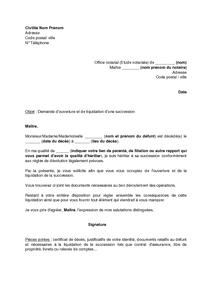 Exemple Gratuit De Lettre A Notaire Ouverture Et Liquidation Une