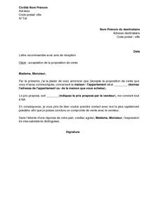 Exemple Gratuit De Lettre A Agence Ou A Notaire Acceptant