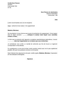 Exemple Gratuit De Lettre à Agence Recherche Un Bien Immobilier