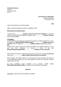 Lettre Accusant Reception De La Resiliation D Un Bail D Habitation Modele De Lettre Gratuit Exemple De Lettre Type Documentissime