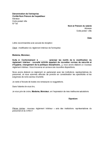 Exemple gratuit de lettre avisant salari s modification for Exemple de reglement interieur entreprise