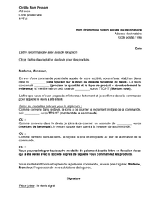 Lettre D Acceptation De Devis Pour Des Produits Modele De Lettre