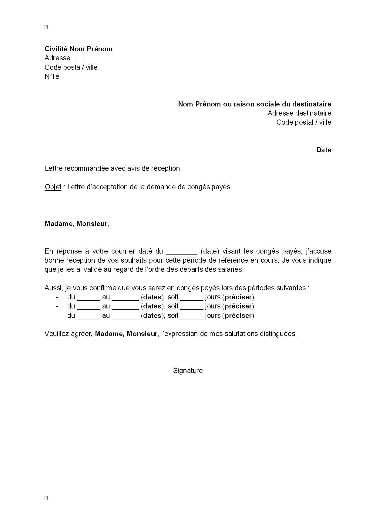 lettre d u0026 39 acceptation  de l u0026 39 employeur  de la demande de