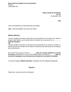 lettre type retraite pour employeur