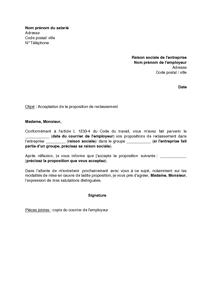 30abffbe663 Exemple gratuit de Lettre acceptation proposition reclassement par salarié    procédure licenciement économique