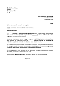 Exemple Gratuit De Lettre Acceptation Reduction Delai Preavis Suite