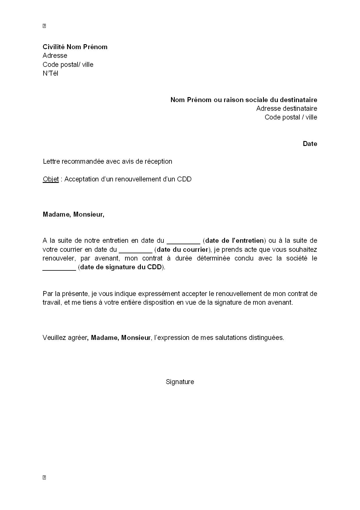 lettre d u0026 39 acceptation du renouvellement d u0026 39 un cdd