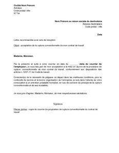 Lettre D Acceptation Du Salarie De La Rupture Conventionnelle Du