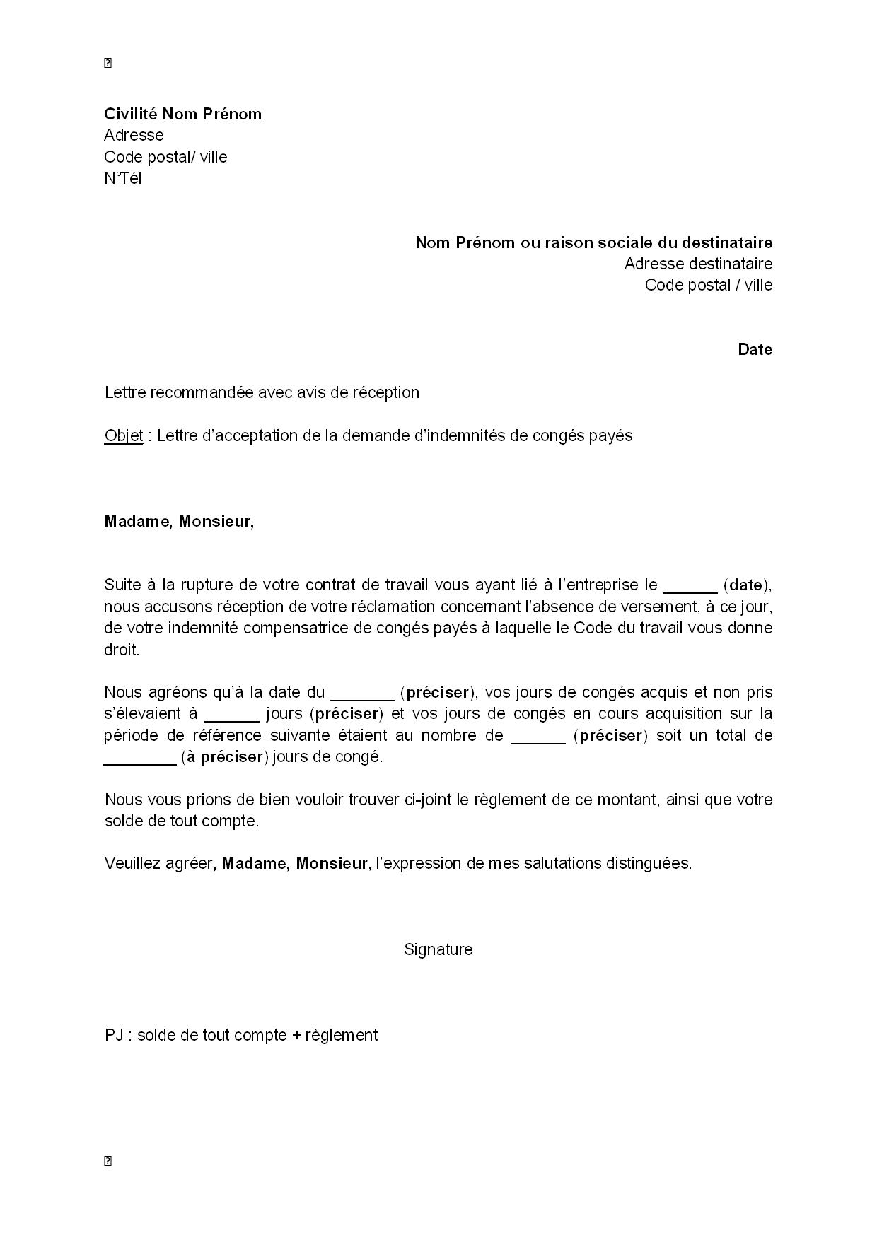 example demande d emploi