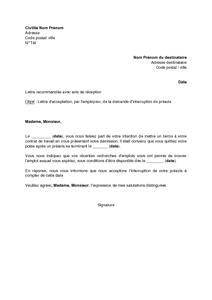 Modele lettre de démission avec demande de réduction de préavis