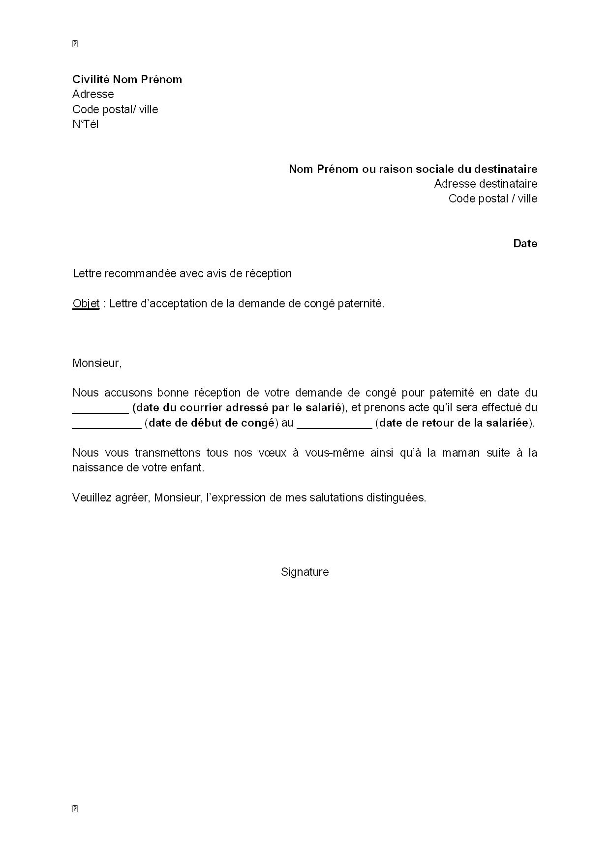 Lettre D Acceptation Par L Employeur De La Demande De Conge