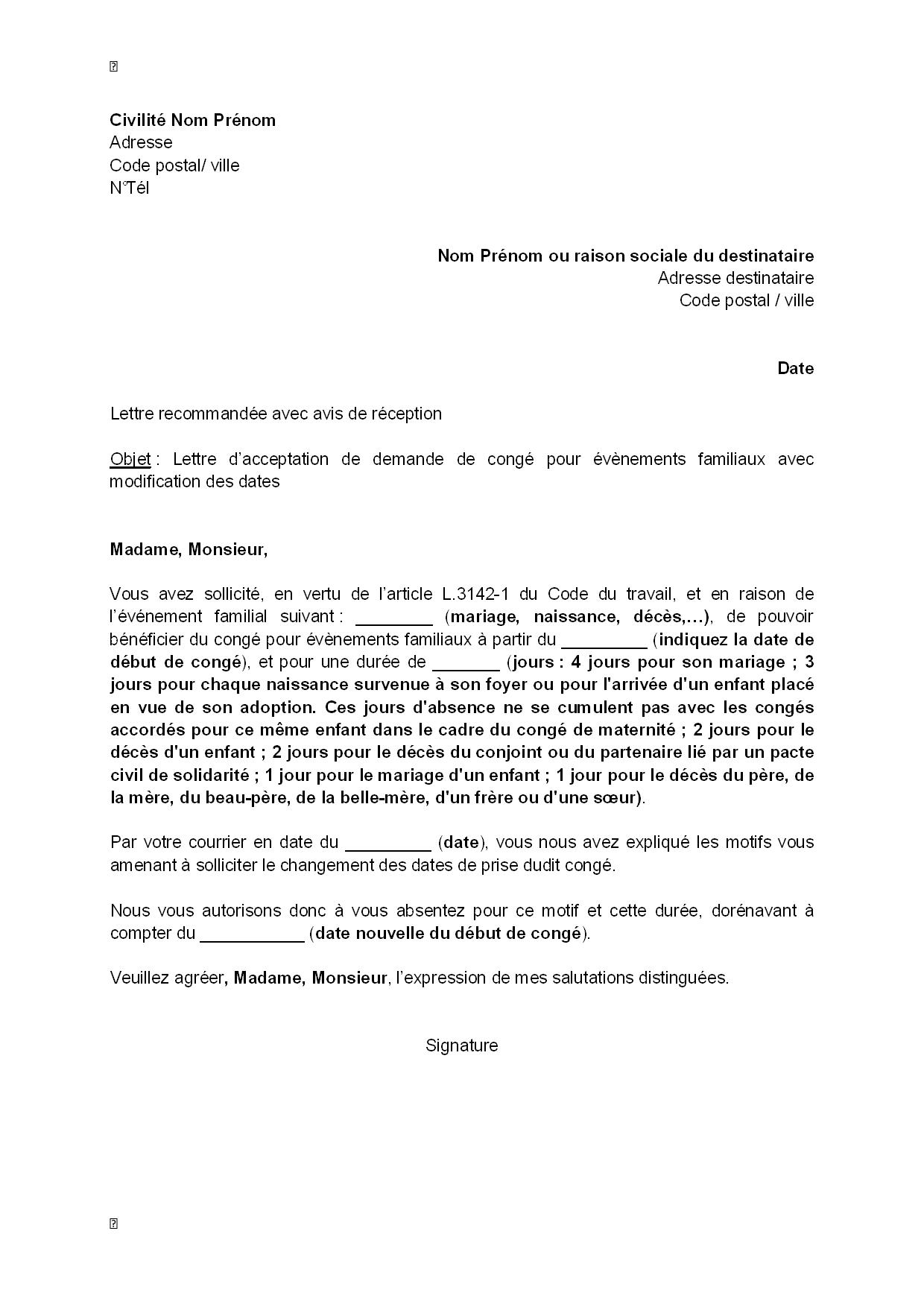 Lettre D Acceptation Par L Employeur De La Demande De Modification