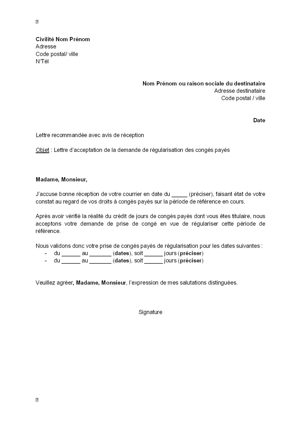 modele de lettre de regularisation Lettre d'acceptation, par l'employeur, de la demande de  modele de lettre de regularisation