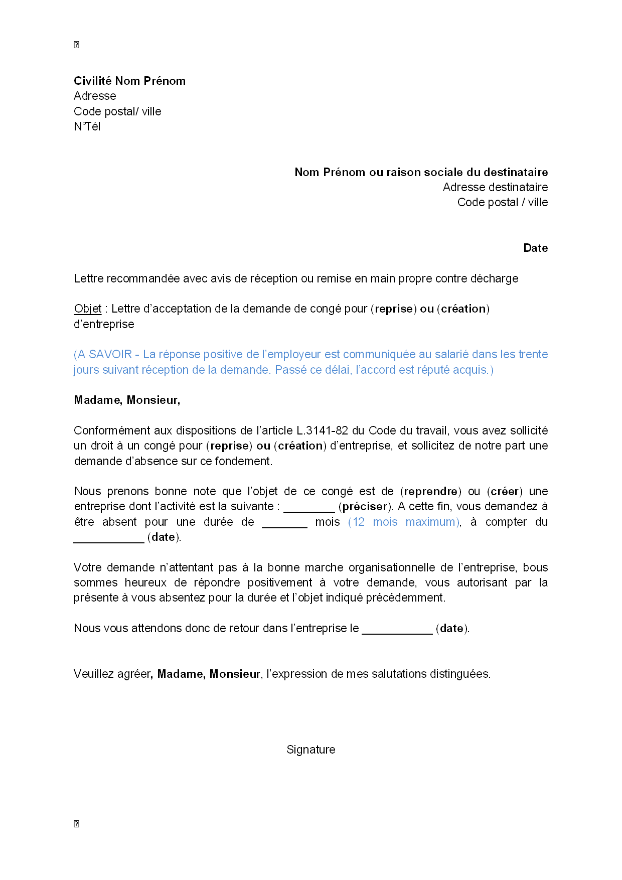 Lettre d\u0027acceptation, par l\u0027employeur, de la demande du salarié de congé  pour création ou reprise d\u0027entreprise , modèle de lettre gratuit, exemple  de lettre