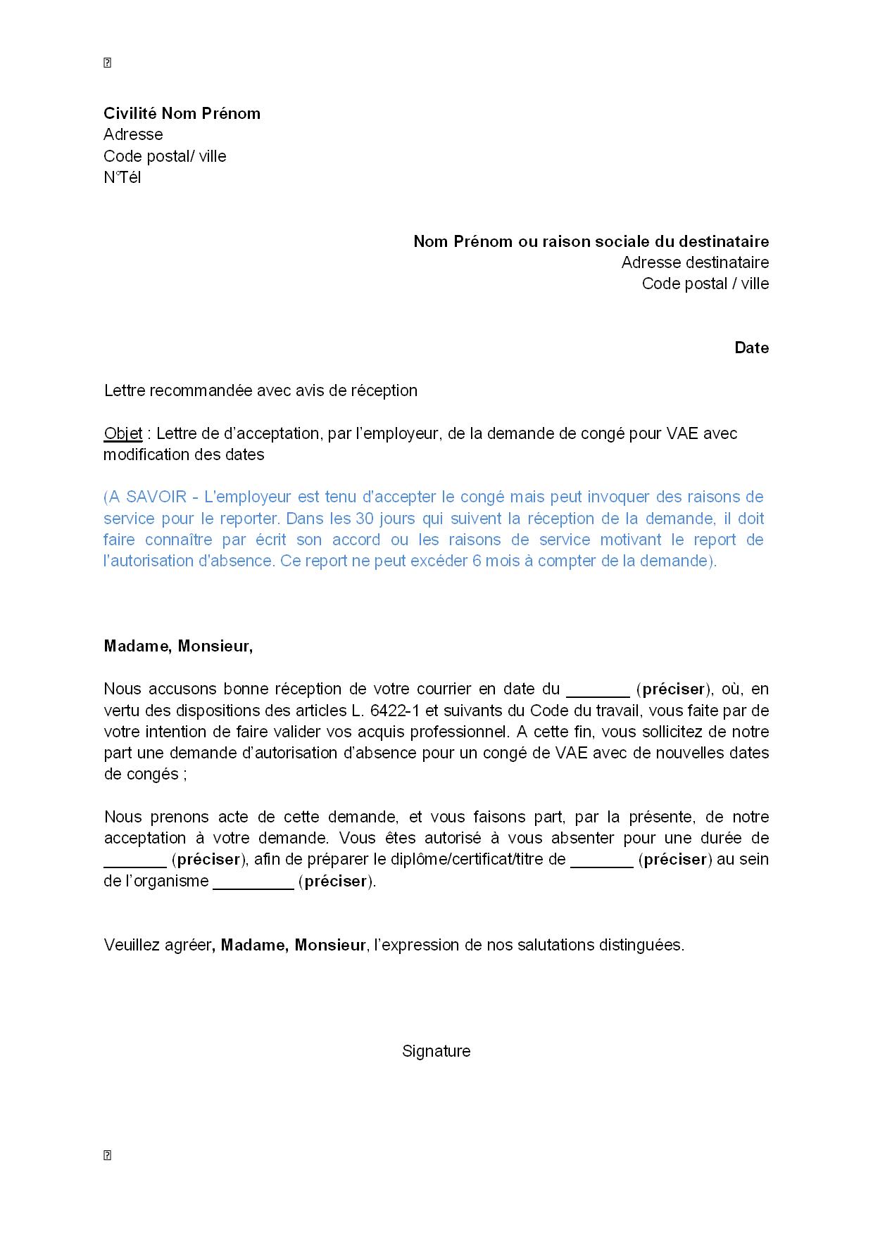 lettre d u0026 39 acceptation  par l u0026 39 employeur  de la demande pour cong u00e9 pour vae avec modification des