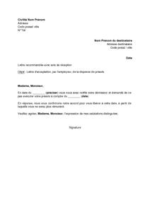 Lettre D Acceptation Par L Employeur De La Dispense De Preavis
