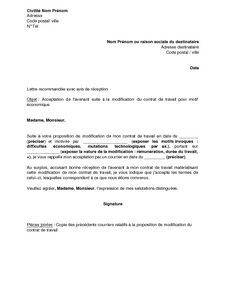 Exemple Gratuit De Lettre Acceptation Par Salarie Avenant Suite A