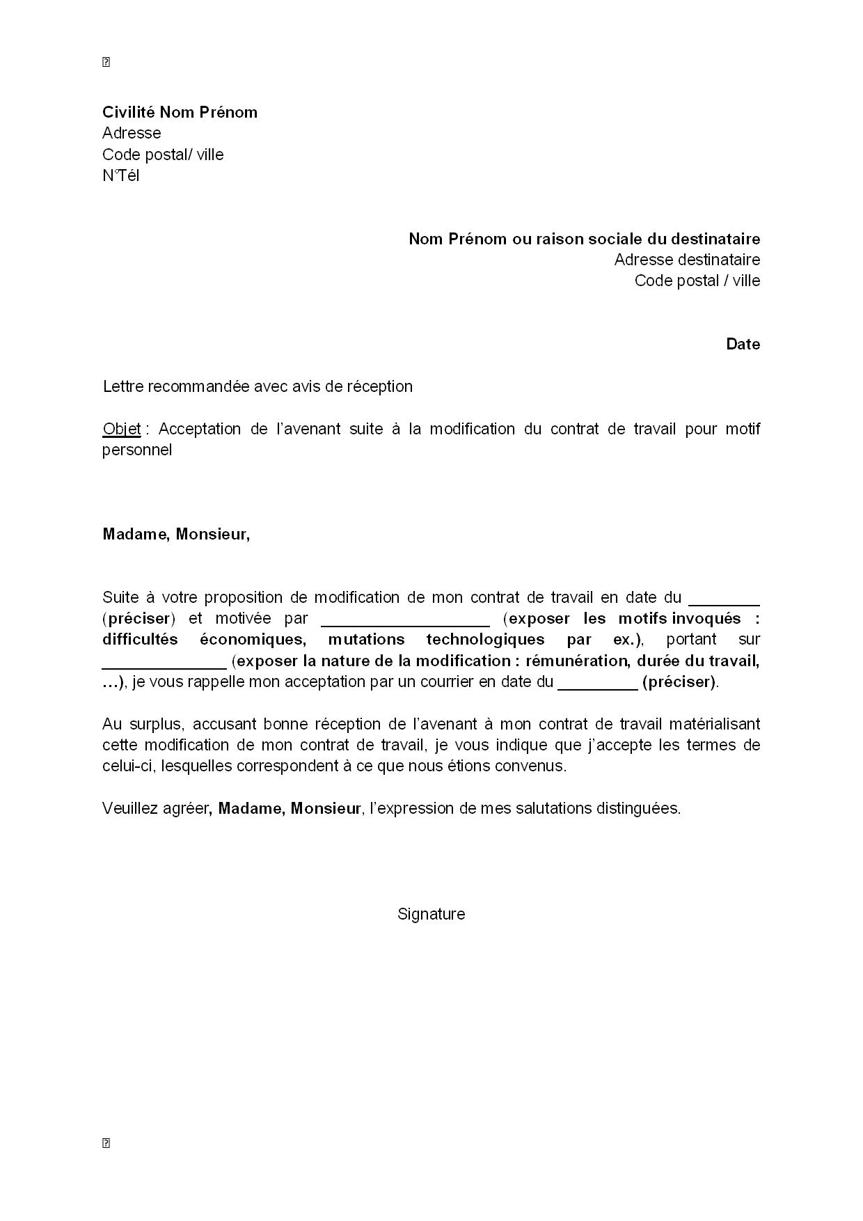 exemple gratuit de lettre acceptation  par salari u00e9