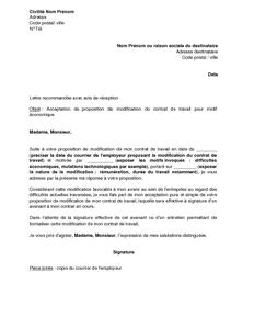 modele de lettre confirmation d acceptation de poste