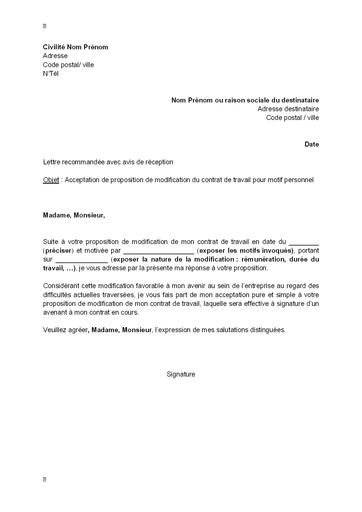 motif de lettre de motivation Lettre d'acceptation, par le salarié, de la modification de son  motif de lettre de motivation