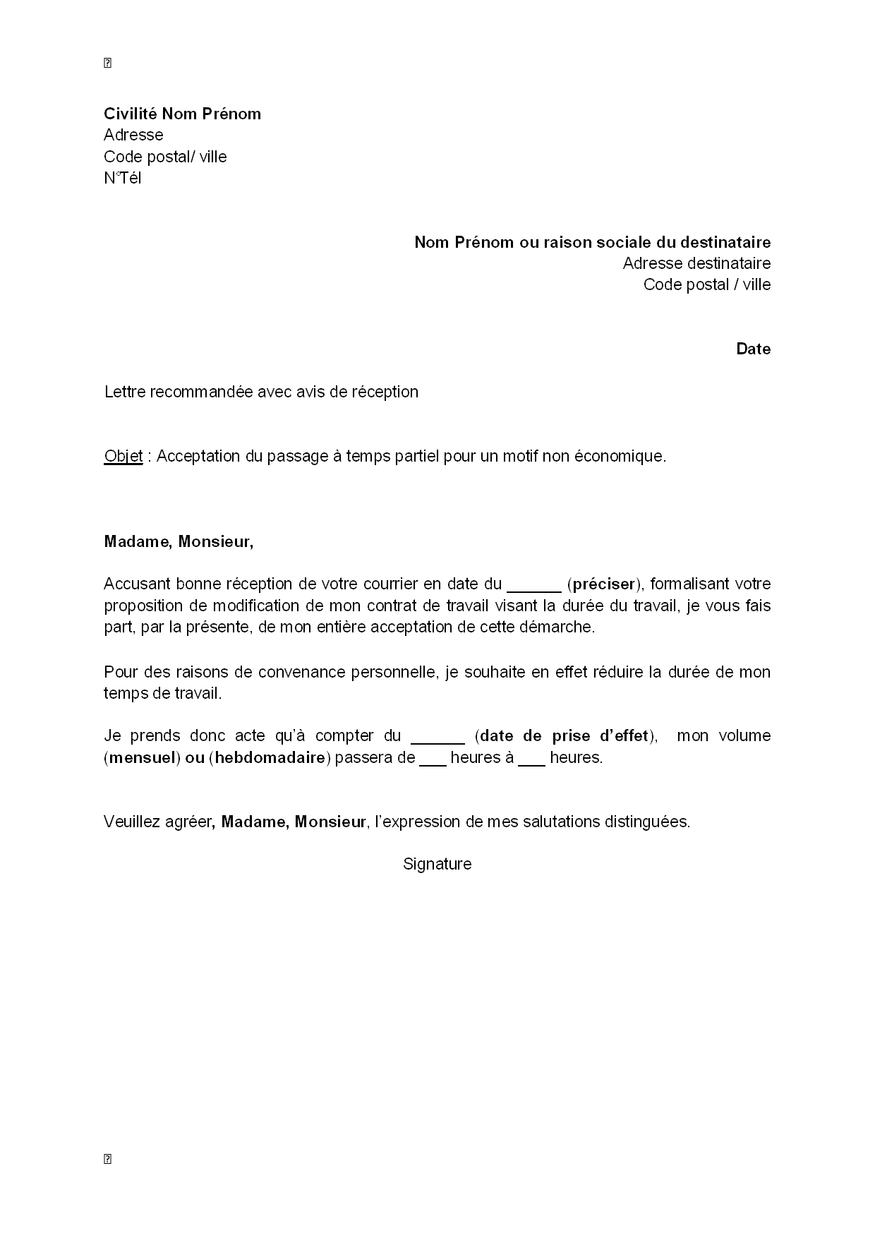 exemple lettre de motivation temps partiel Exemple gratuit de Lettre acceptation, par salarié, passage à  exemple lettre de motivation temps partiel