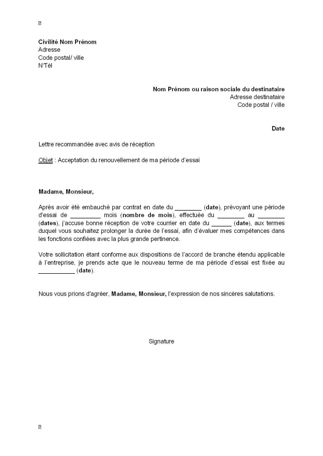 exemple de lettre de renouvellement de contrat